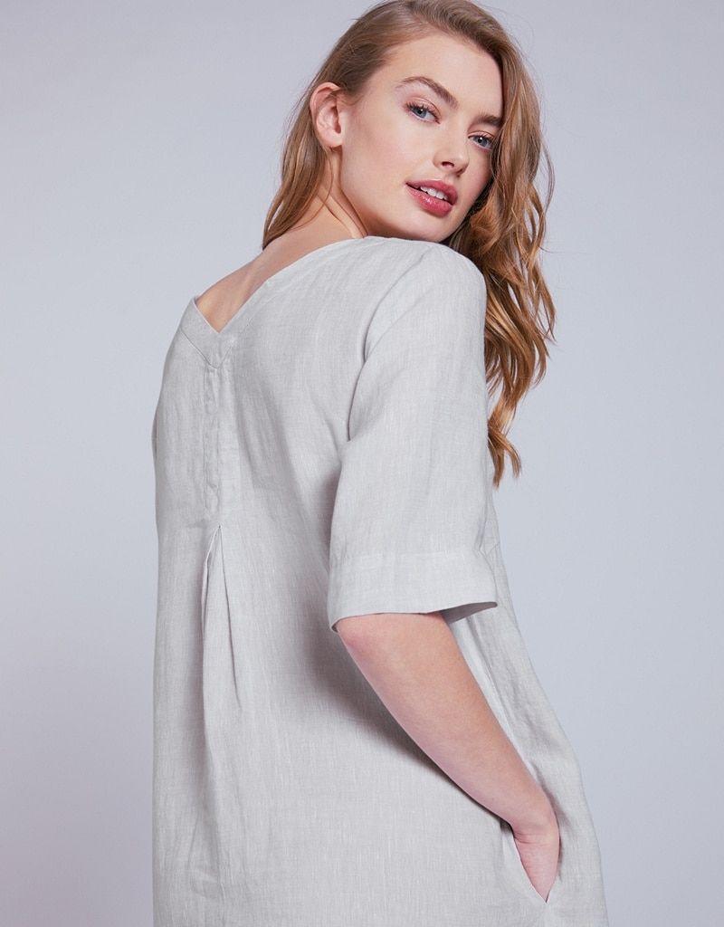 best price official sale wide selection of colors Linen V-Neck Dress | Boutique in 2019 | V neck dress ...