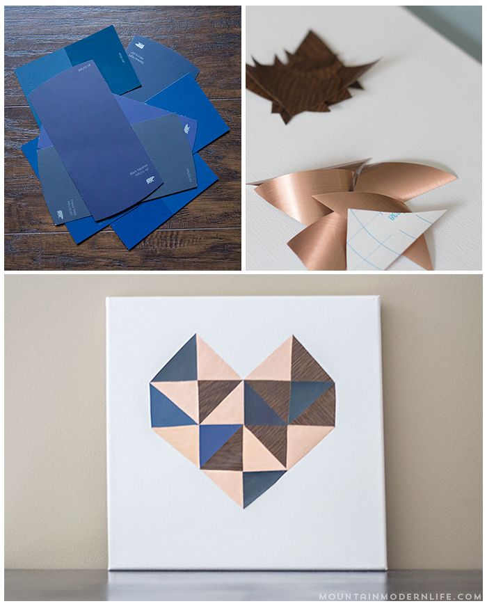 See how easy it is to create this geometric DIY heart wall art using contact paper and paint chips, perfect for Valentine's Day! MountainModernLife.com