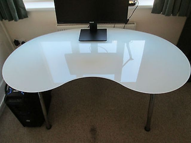 Glass Kidney Shaped Ikea Galant Officecomputer Desk Whitechrome In