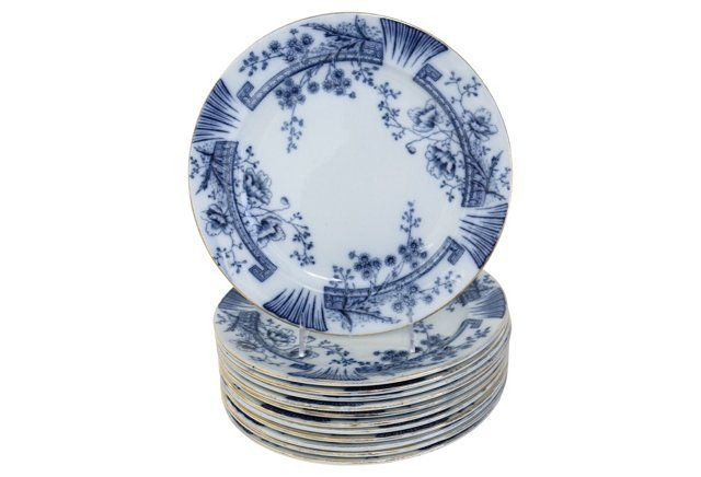 English Flow Blue Dinner Plates, S/12