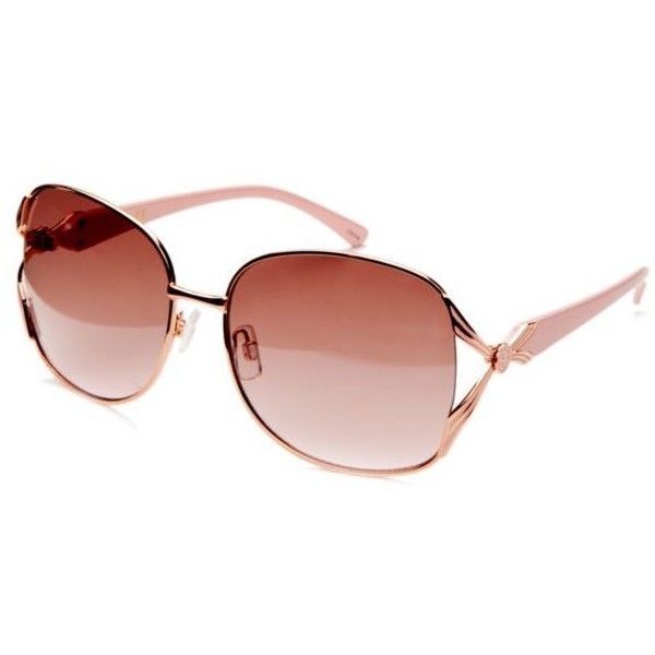7123b9f000fe7 Jessica Simpson Rose Gold Pink Vented Glam Sunglasses (165 SEK) ❤ liked on  Polyvore featuring accessories