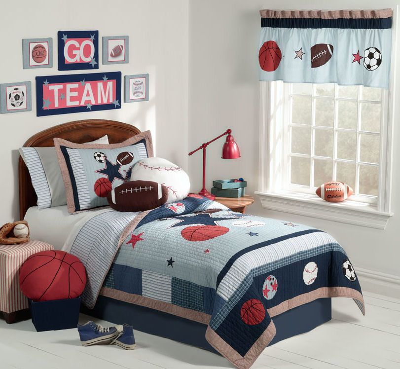 Cute And Colorful Little Boy Bedroom Ideas: Red White And Blue Sporting  Themed Boys Room