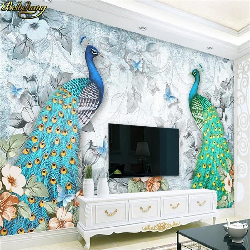 Mural Wallpaper Fresh Stereoscopic 3D Auspicious Peacock