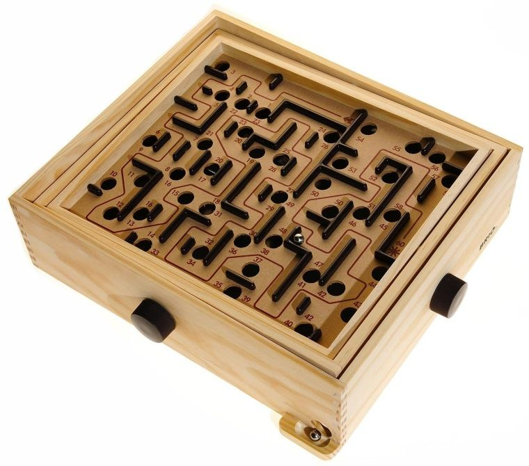 2 WOOD MAZE GAME W METAL BALL wooden puzzle mind toy board marble SKILL GAMES