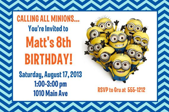 despicable me minion birthday party invitation printable 4x6 or 5x7