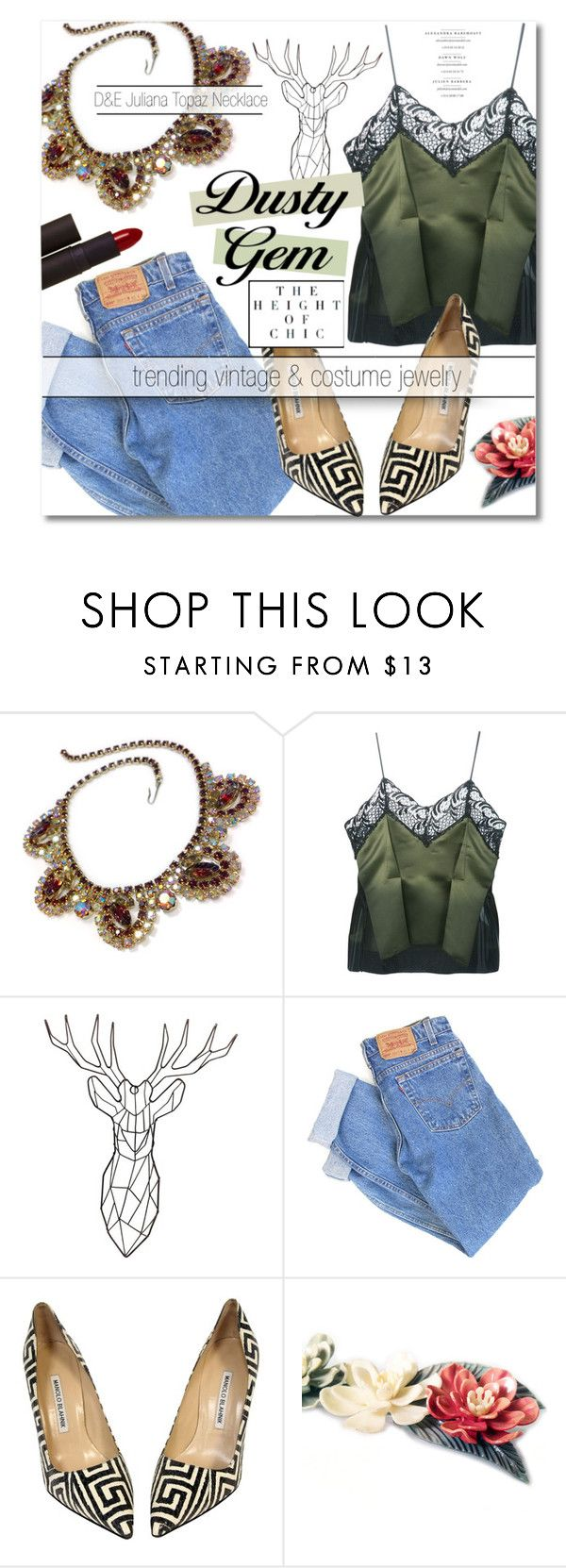 """little sister's etsy shop ♡"" by lavida ❤ liked on Polyvore featuring Sharon Wauchob, Levi's, Manolo Blahnik and Lipstick Queen"