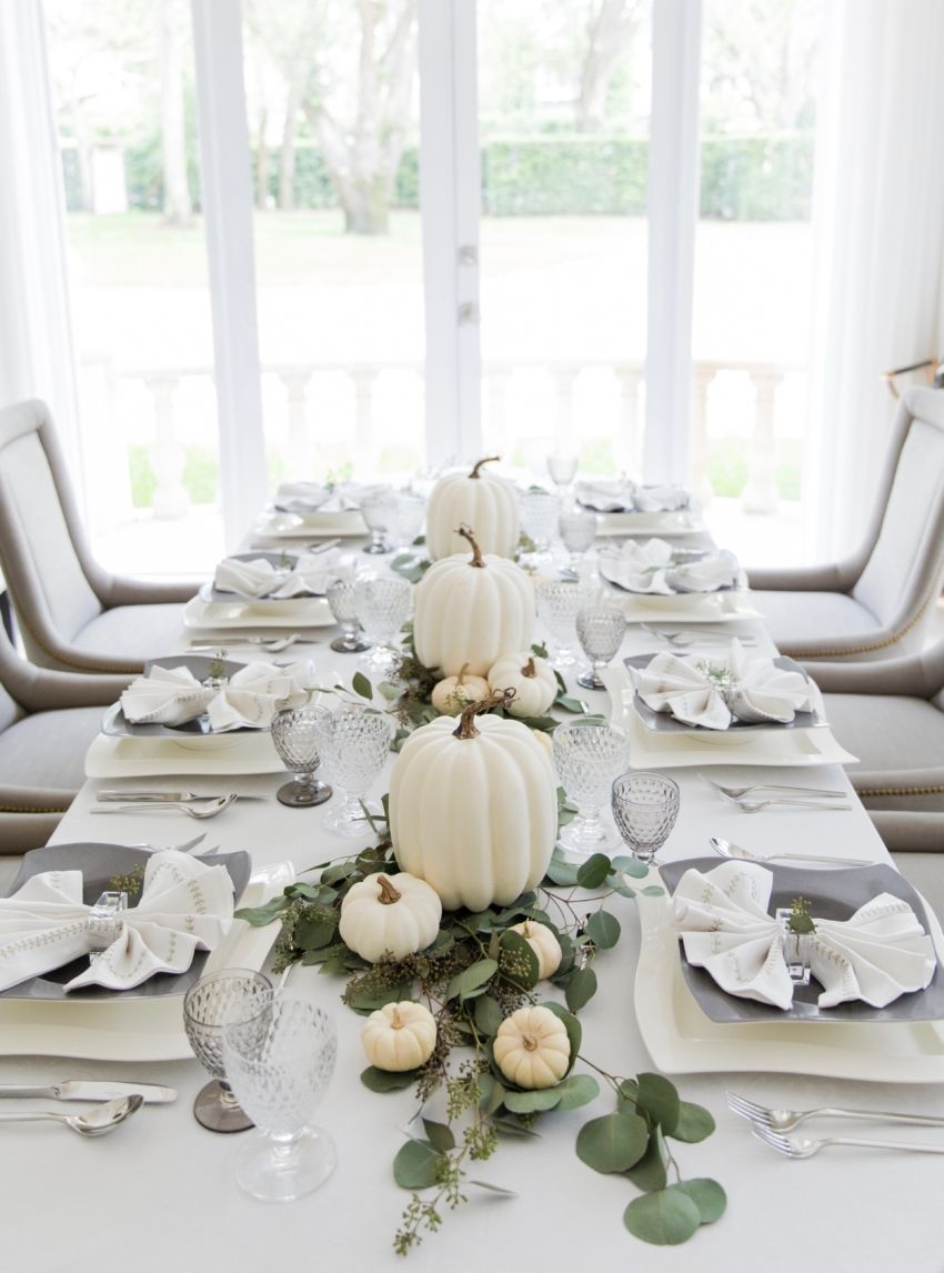 Thanksgiving White Pumpkin Tablescape Fashionable Hostess Thanksgiving Table Decorations Modern Thanksgiving Table Fall Table Decor