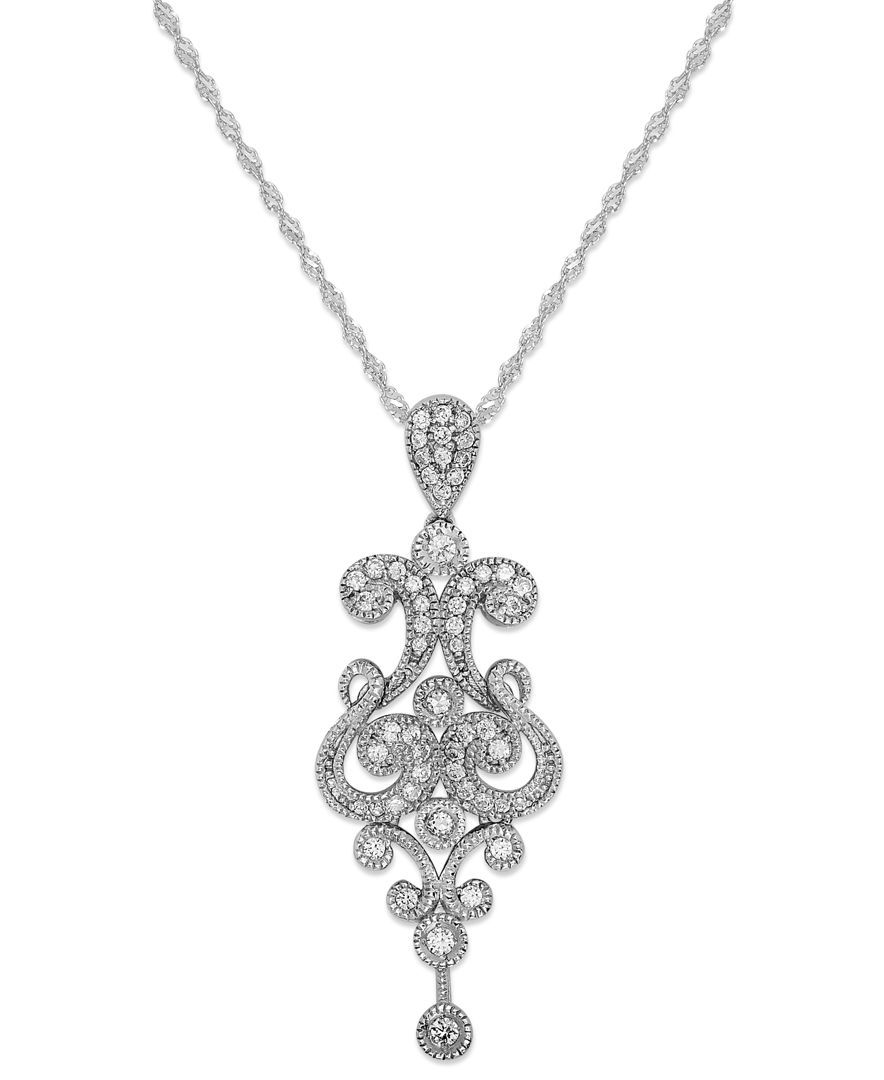 Diamond chandelier pendant necklace in k white gold ct tw