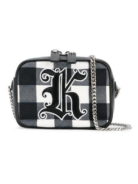 CHRISTOPHER KANE gingham 'Box' crossbody bag. #christopherkane #bags #shoulder bags #leather #crossbody #cotton #