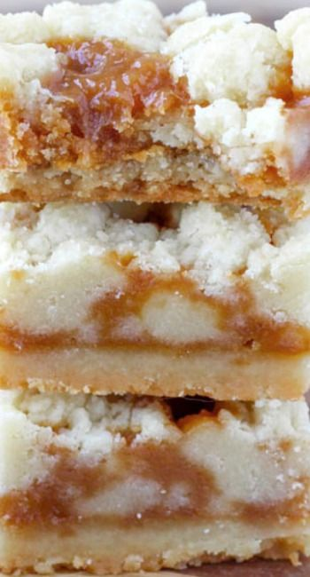 Salted Caramel Butter Bars Recipe ~ incredibly easy... A buttery shortbread crumble surrounds a salted caramel filling for the perfect salty-sweet dessert!