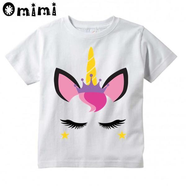 36bc8a00b Kids Unicorn Face Cartoon Design T-Shirts Children's Cute Short Sleeve Tops  Boys/Girls Funny T Shirt Cool Clothes,