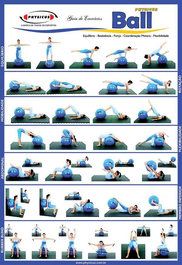 FITNESS BALL EXERCISES - Check out this useful visual guide to learn the best ex... #swissballexerci...