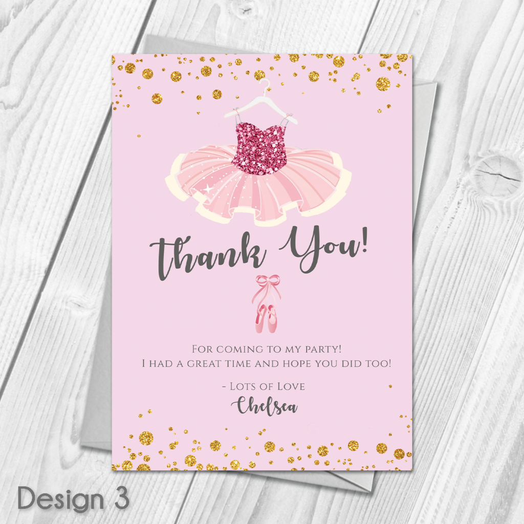 Personalised Ballet Ballerina Kids Birthday Party Thank You Cards