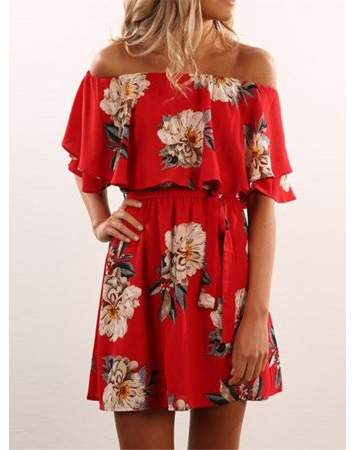 9bc39e343f49 Sibylla SIBYLLA Women Off Shoulder Strapless Floral Casual Party Shift  Short Red Dress