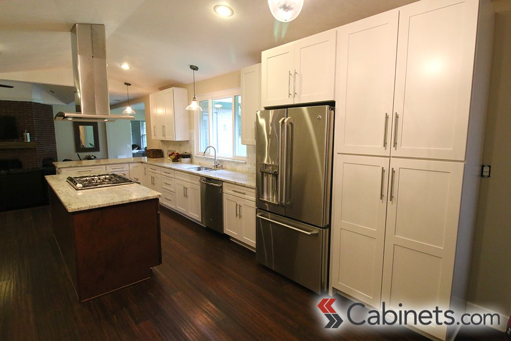A Built In Pantry Next To The Refrigerator; Cabinets Are Titusville RTA  Shaker Maple White