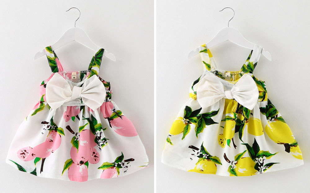 4313966f045e Newborn Baby Girl Clothes Dress Lemon Print Cotton Sleeveless Floral ...