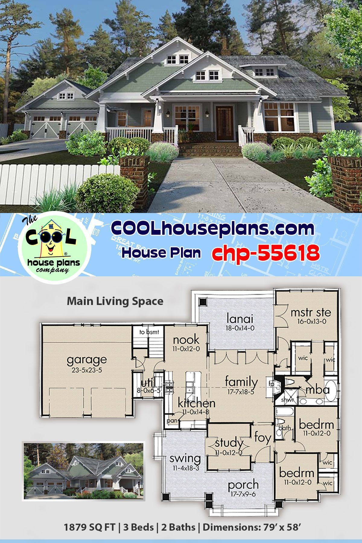Craftsman Bungalow Home Plan Chp 55618 At Cool House Plans Arts And Crafts S Craftsman Bungalow House Plans Craftsman Floor Plans Craftsman Style House Plans