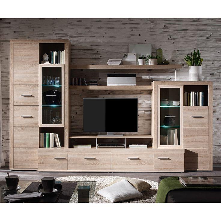 Wohnwand Spencer 5 Teilig Inklusive Beleuchtung Eiche Sonoma Dekor Living Room Tv Unit Designs Wall Tv Unit Design Wall Unit