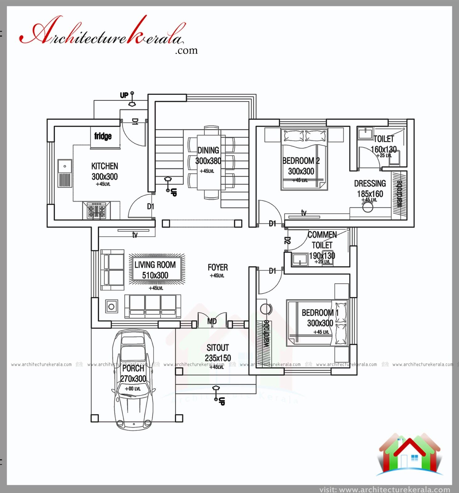 1000 Square Feet 2 Bed House Plan And Elevation Architecture Kerala One Bedroom House Plans Small Modern House Plans One Bedroom House