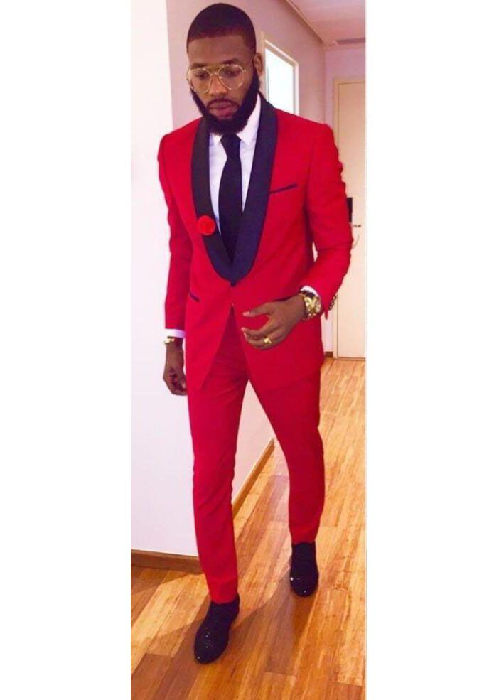 Click to Buy << Latest Coat Pant Designs Red Shawl Lapel Men Suit ...
