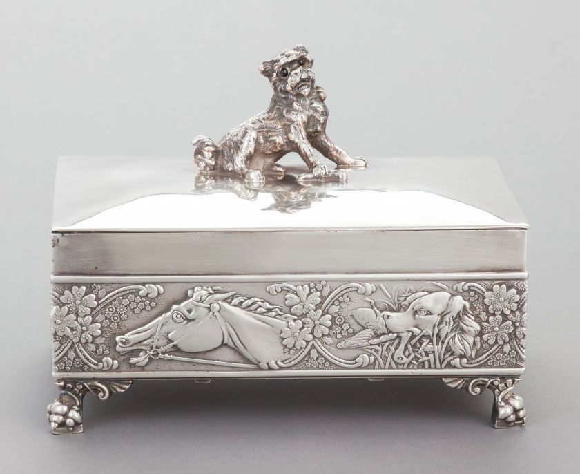 A JAMES W. TUFTS SILVER-PLATED DRESSER BOX WITH HINGED LID. James W  sc 1 st  Pinterest & A JAMES W. TUFTS SILVER-PLATED DRESSER BOX WITH HINGED LID. James W ...