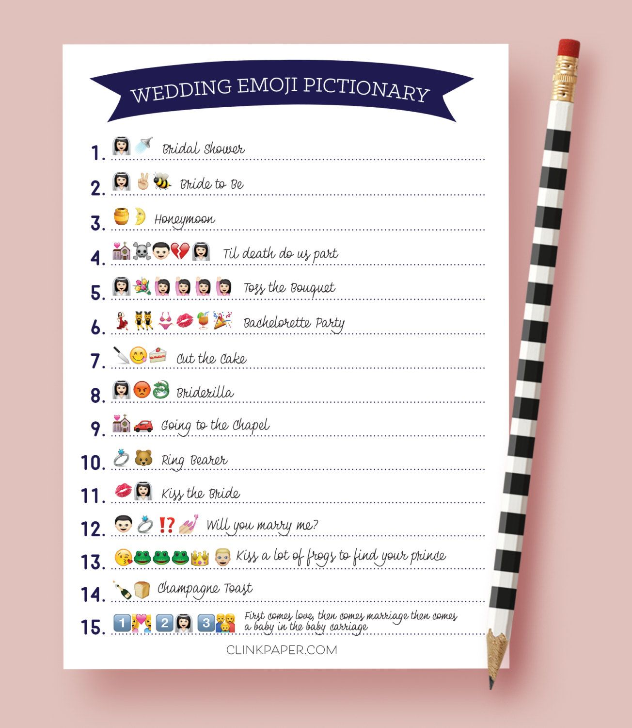 wedding emoji pictionary bridal shower game instant download print at home