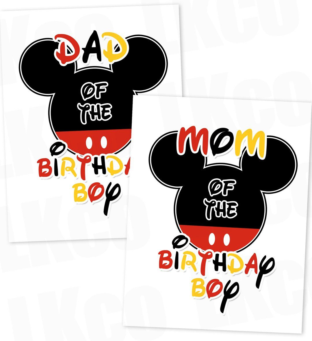 Mickey Mouse Iron On Transfers Set Mom & Dad of the