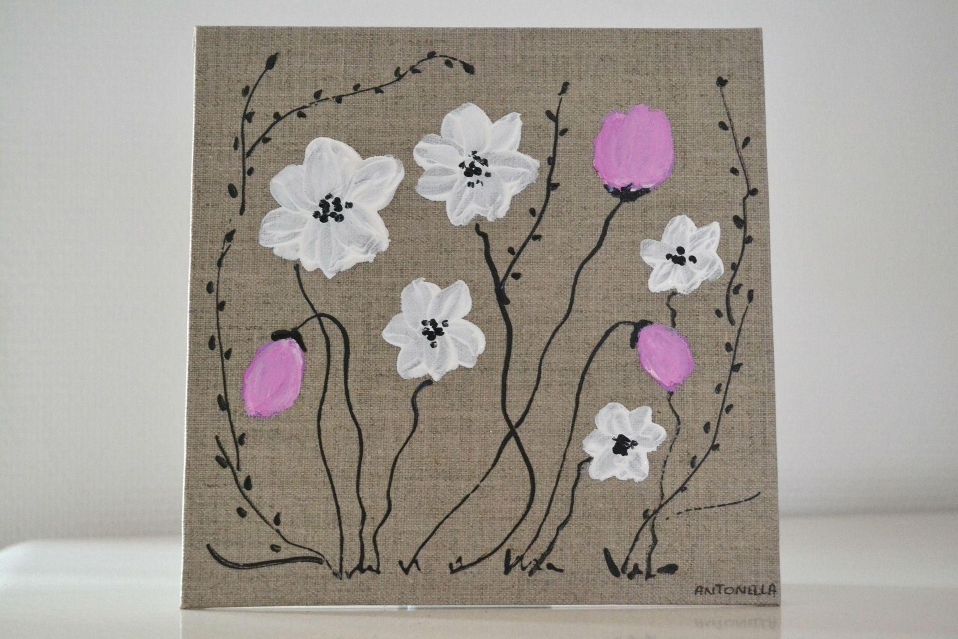 Tableau lin romantique fleurs tableau d coratif f minin for Tableau style romantique