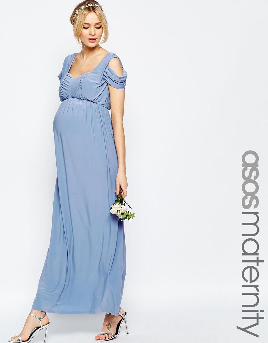 Maternity wedding dress with sleeves  Image  of ASOS Maternity WEDDING Drape Cold Shoulder Maxi Dress