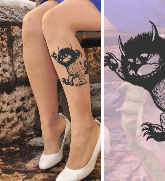 Tattoo Tights Where The Wild Things Are Tattoo Nude Sheer Tights