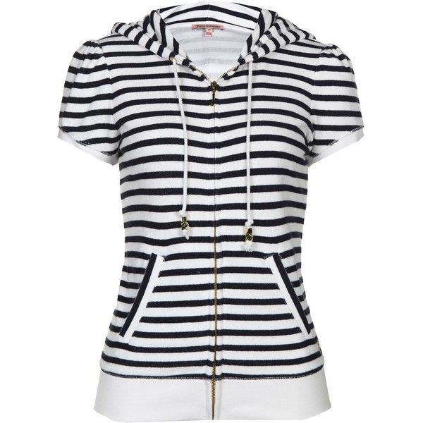 Juicy Couture Striped Terry Hoody ($61) ❤ liked on Polyvore featuring tops, hoodies, jackets, shirts, cardigans, navy, short sleeve hooded sweatshirt, zip up hoodie, zip up hoodies and striped shirt