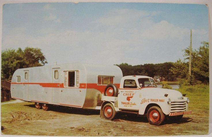 1950s chevrolet trailer toter pulling house trailer post card 1950s chevrolet trailer toter pulling house trailer post card sciox Image collections