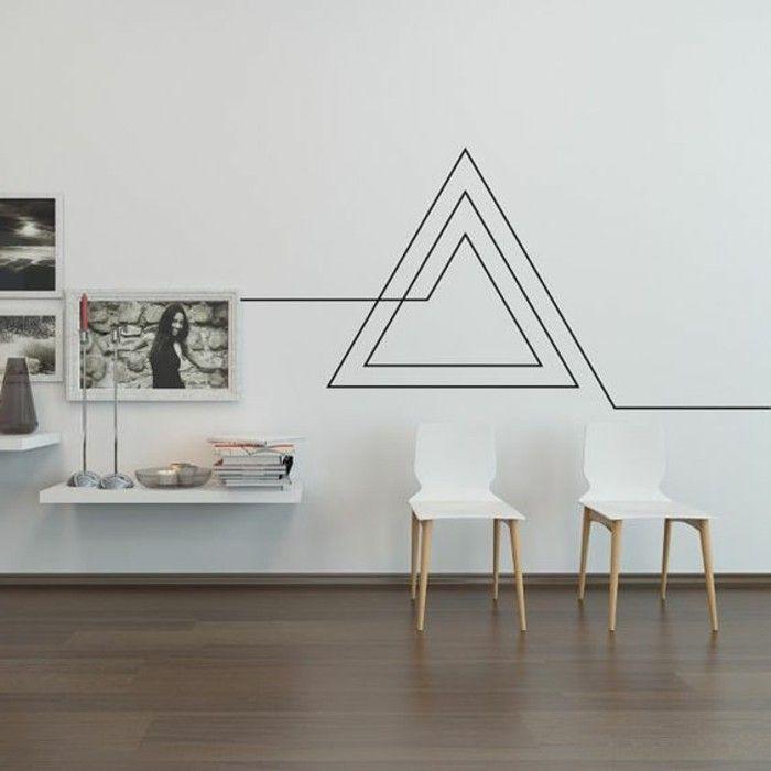 Super Interessante Moderne Wohnzimmer Wandgestaltung Tolle Figuren An Der  Wand