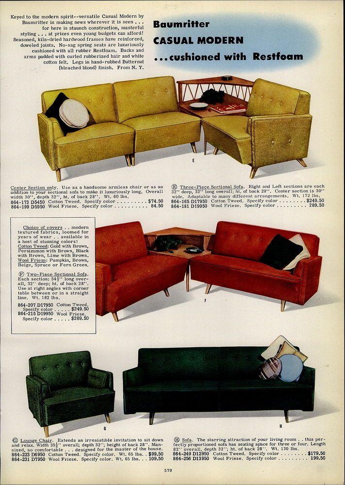 Prime Vintage Ad Baumritter Furniture Fischer Chair Sofa 1954 Inzonedesignstudio Interior Chair Design Inzonedesignstudiocom