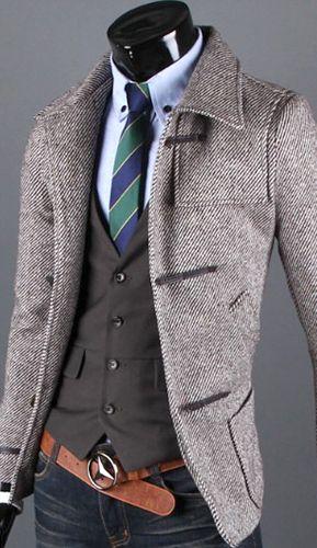Korean Fashion Mens Slim Zipper Lapel Slim Fit Casual Jacket Coat Outwear Tops