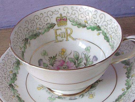 Vintage Queen Elizabeth Coronation teacup and saucer, 1953, Paragon china tea cup, English tea cup, Royal Bone china teacup,