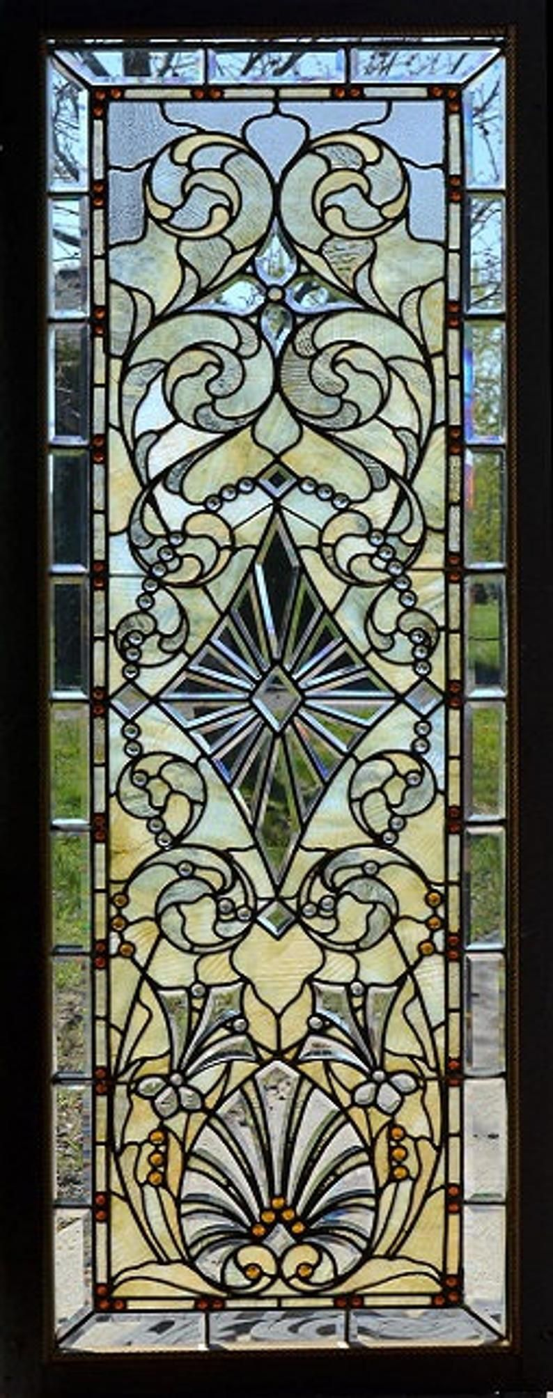 Door wall sticker stained glass with bevels self