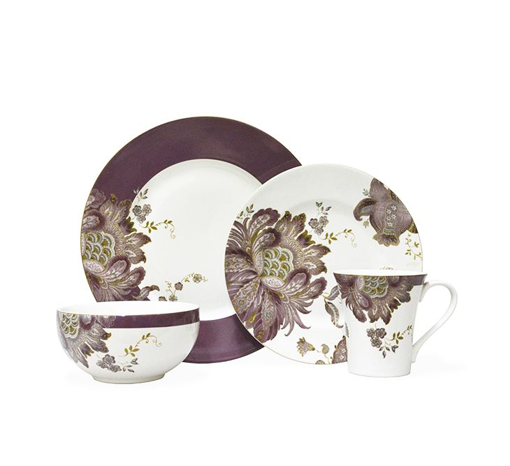 Give your table an update with this beautiful Eliza plum 16 piece set from 222 Fifth. With floral details, it's a classic for any occasion.
