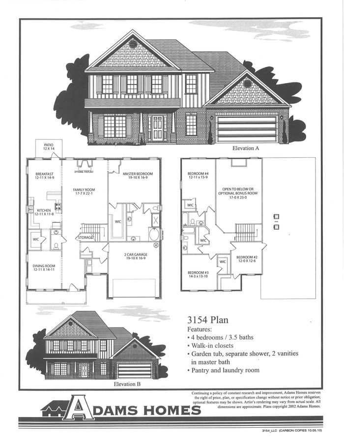 The Adams Homes 3 154 This Spacious Two Story Home Has Formal Dining Plus Family Room Downstairs Master Suite And La Adams Homes Two Story Homes Stucco Homes