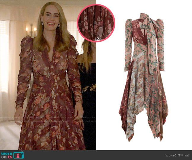 7e9ccc2f0e7f90 Cordelia s red floral midi dress on American Horror Story  Apocalypse.  Outfit Details  https