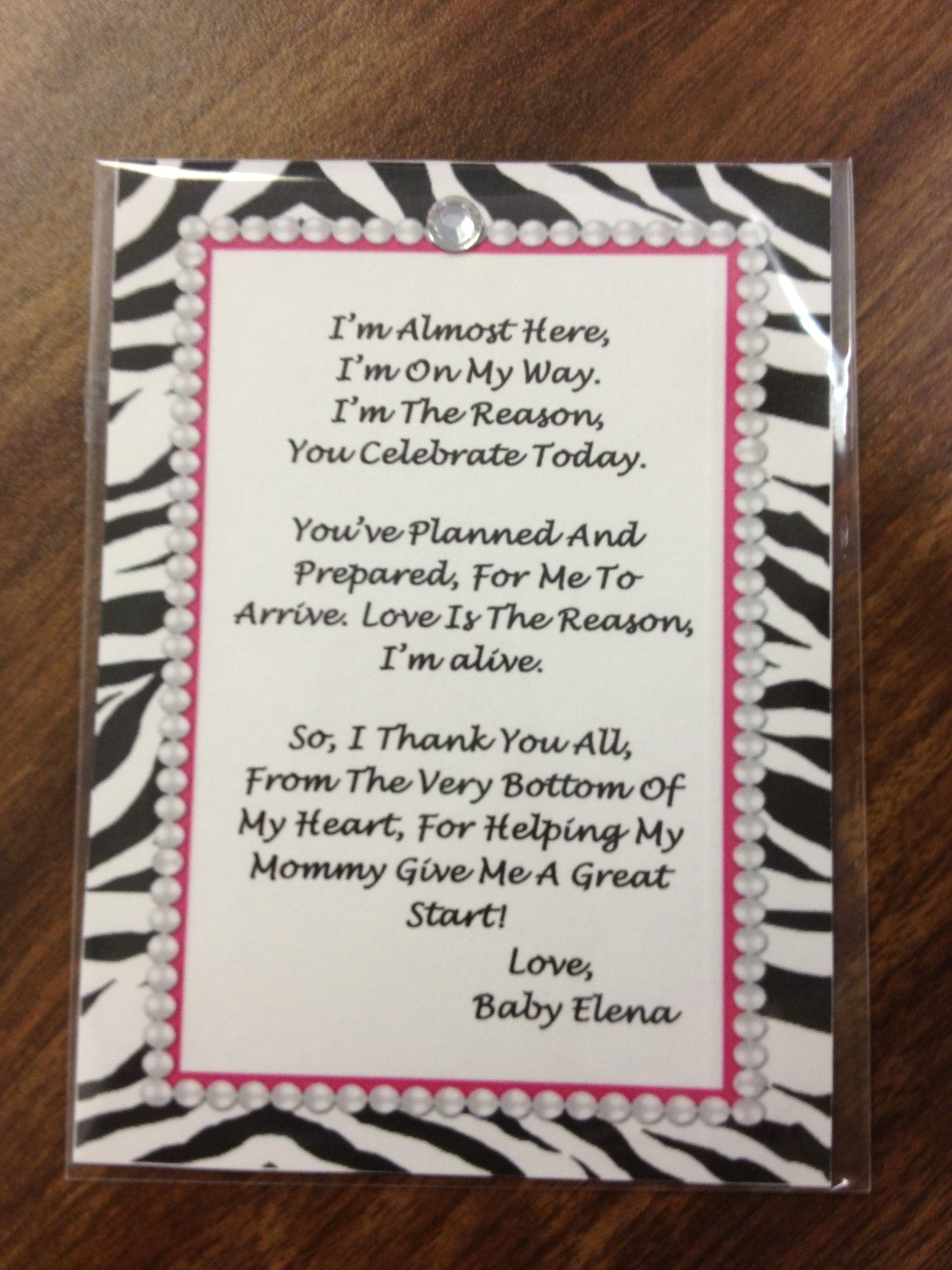 Baby shower poem for a little girl Maci Pinterest Baby shower