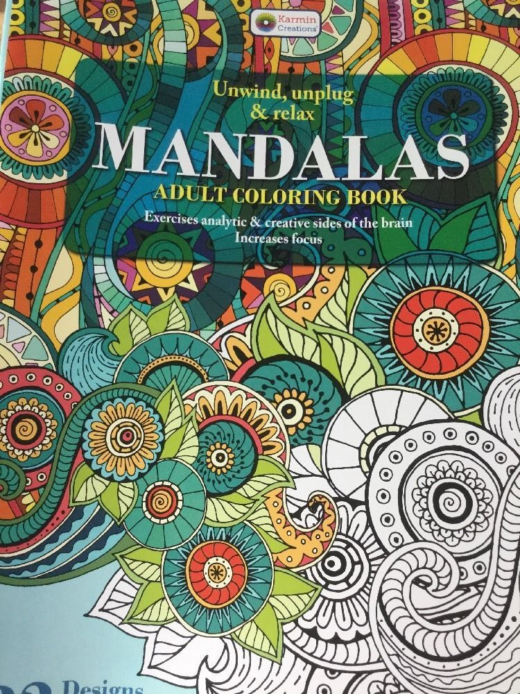Adult Coloring Book Mandalas 2 Green Karmin Creations Unwind Unplug Relax Focus