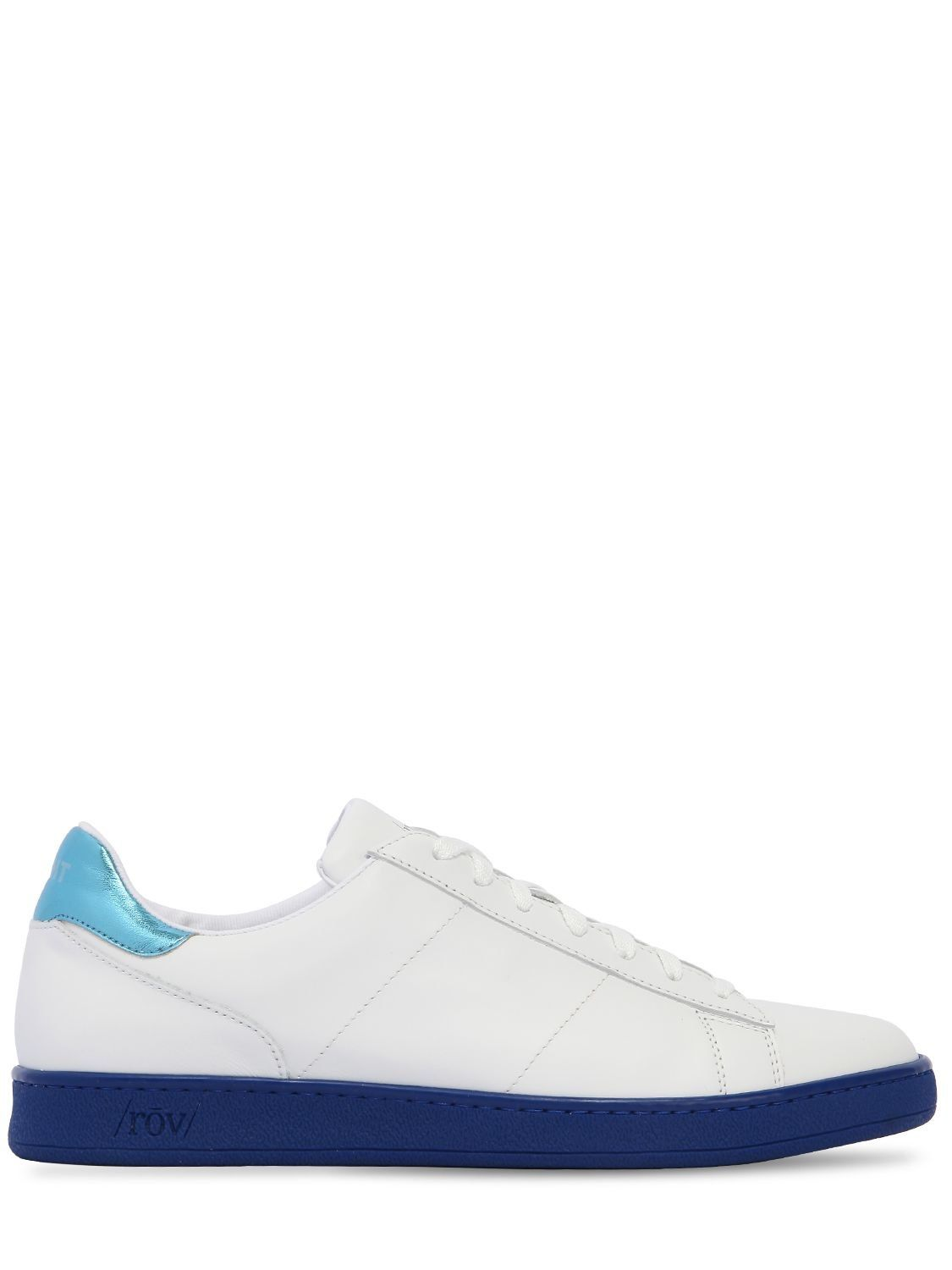 White and blue leather sneaker Rov 7iv0iKEl6