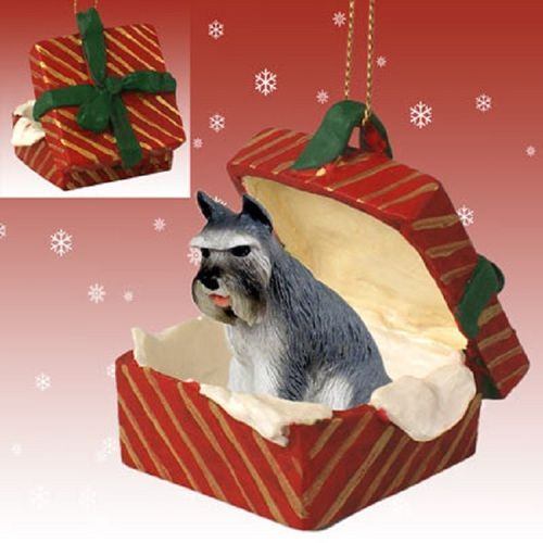Schnauzer Gray Dog Red Gift Box Holiday Ornament