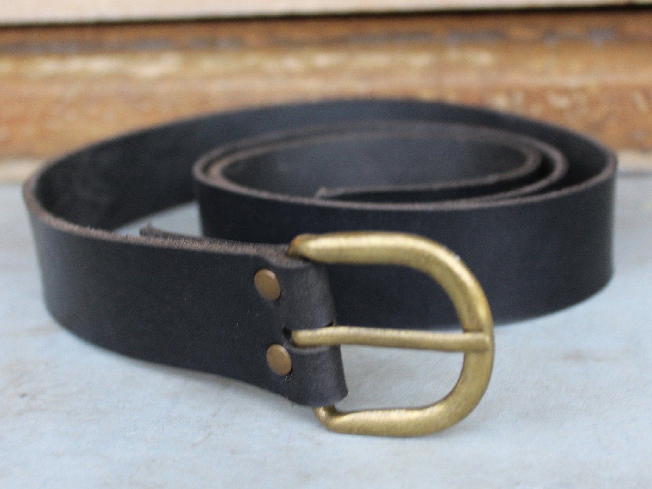 Mens leather black belt  High quality brass buckle  Womens  leather belt