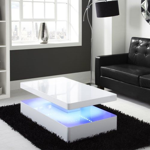 Light Filled Contemporary Living Rooms: Tiffany White High Gloss Rectangular Coffee Table With LED