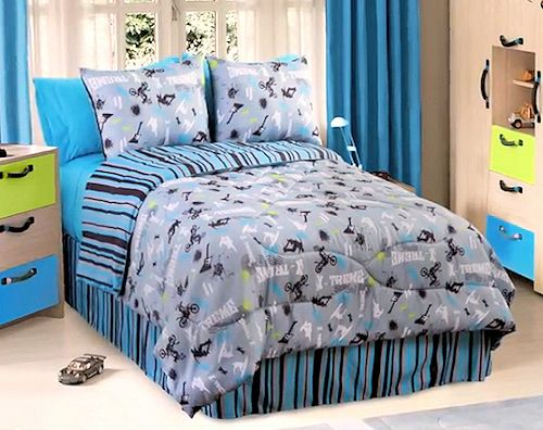 Blue Striped Extreme Sports Boys Bedding Twin Xl Full