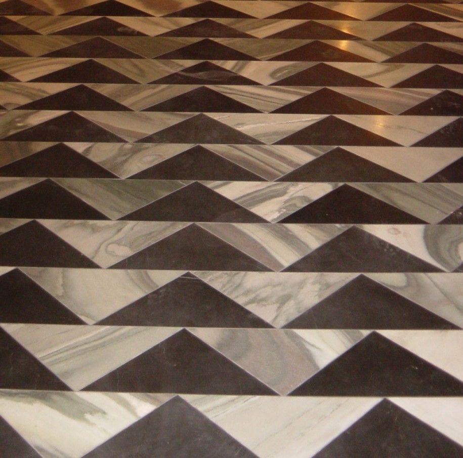 Extraordinary Sleek Marble Floor Design With Triangle Pattern