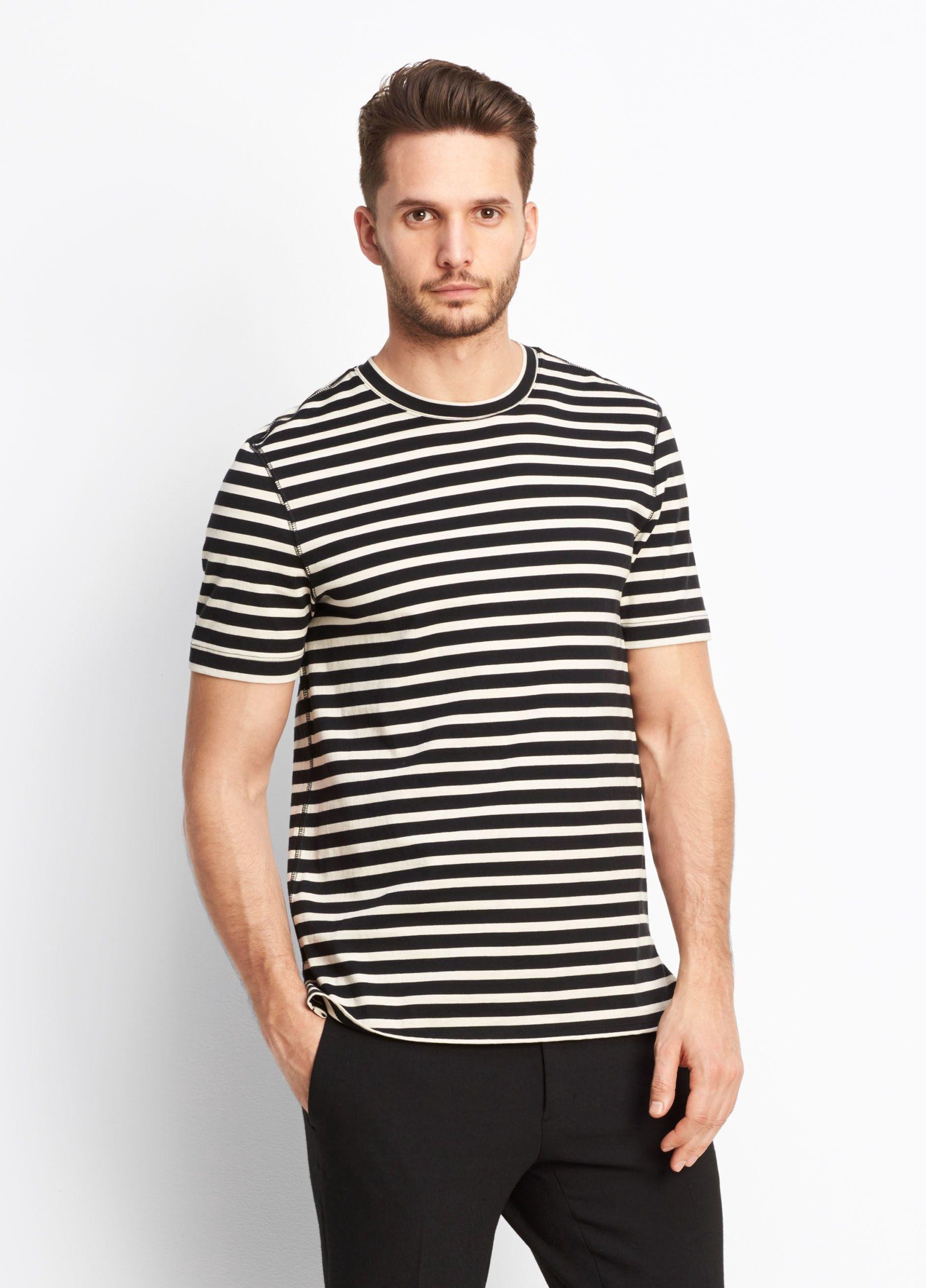419bbe46a0531 VINCE Stripe Crew - Black off White.  vince  cloth
