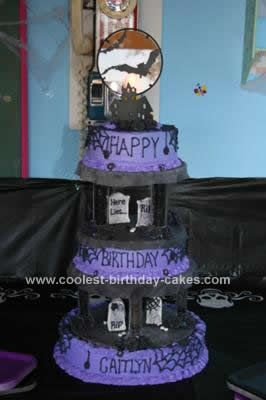 Coolest Homemade 3 Tiered Spooky Halloween Birthday Cake Halloween